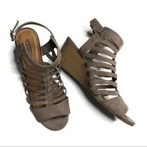 Seychelles Nutmeg Faux Suede Wedge Sandals 8.5